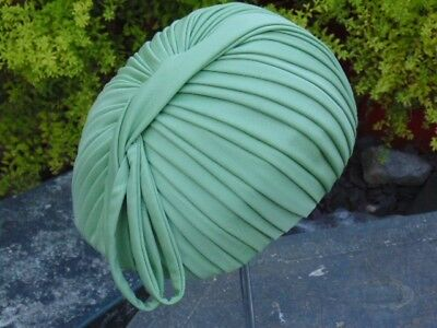 Vintage womans hat/sage green ruched fabric/1960's