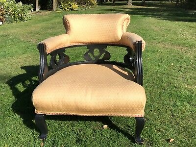Victorian Tub Chair Ebonised Wood, Cash on Collection Only.