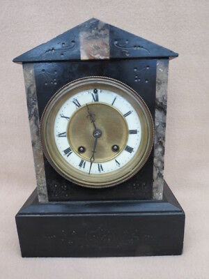 Antique Rex German Slate And Marble Striking Clock For Restoration