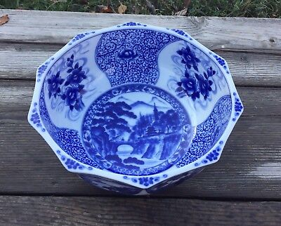 Fabulous 19th c. Large Blue and White Bowl - Signed