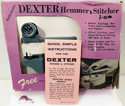 VINTAGE DEXTER AUTOMATIC Hand Held Sewing Machine Case Hemmer New Dexter Hand Held Sewing Machine