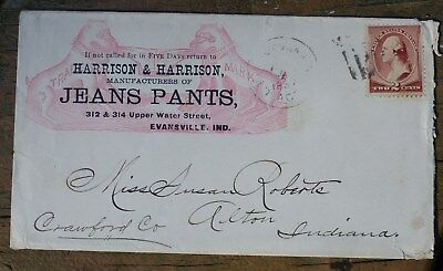 """Historic ENVELOPE, """"HARRISON & HARRISON, JEANS PANTS"""" 1887,with stamp"""