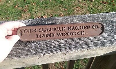 Iron Embossed Yates American machine Company Plaque Beloit Wisconsin