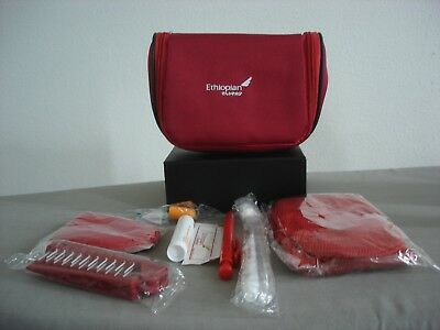 Ethiopian Airlines Businesst Red Overnight Travel Amenity Kit w/goodies bag