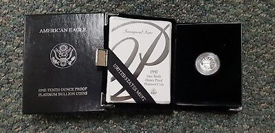 1997 Platinum Proof 1/10th American Eagle Inaugural Issue Mintage36.993 1st Year