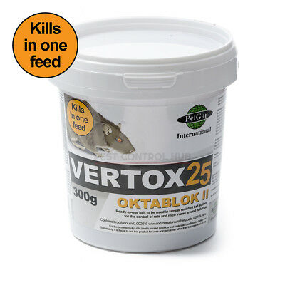 Vertox Rat and Mouse Killer Poison Bait Blocks Single Feed Strength Brodifacoum