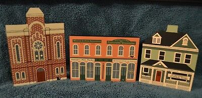 1988 Set Of 3 Cats Meow Series Vi Baptist Church, Funeral Home & Fish Market