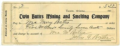 Twin Buttes Mining Tucson Arizona Territory Bank Check 1905