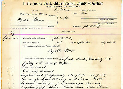 Court trial documentJustice Court Clifton Graham Arizona Territory for 2 trials