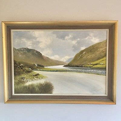 Large Framed Oil On Board Painting Killary Harbour Bay Connemara Galway Ireland