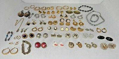 Huge Lot of Jewelry Mostly Earrings - Necklace, Bracelet Vintage ESTATE SALE