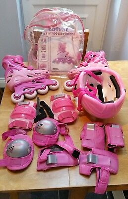 Cosmic Girls Inline Skates Adjustable Size 12-2 with bag & safety gear (pink)