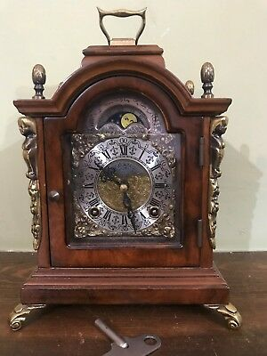 Old vintage Mantle Bracket Shelf Clock moonphase Wuba Warmink