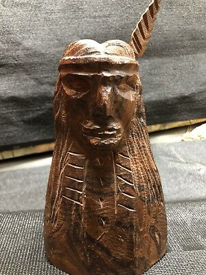 """Hand Carved Iron Wood Indian Chief Head - Highly Detailed - Special Item 8"""" High"""