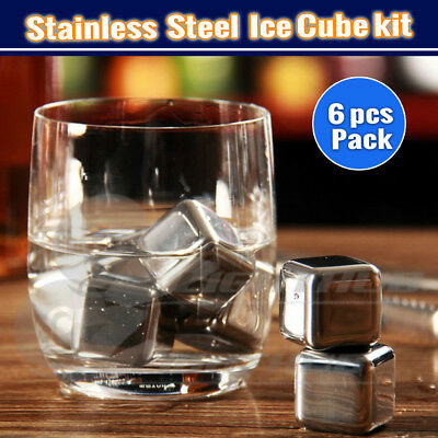 6x Whiskey Stainlee Steel Ice cube Reusebale Icecubes Drinks Cooler Scotch Party