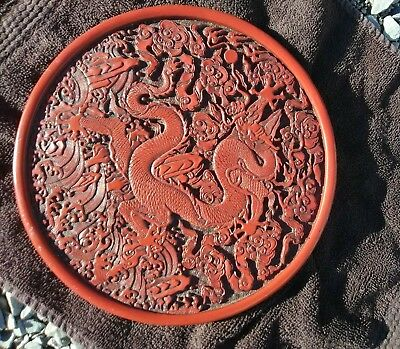 Antique Cinnabar Dragon Plate Well-carved with Mark.