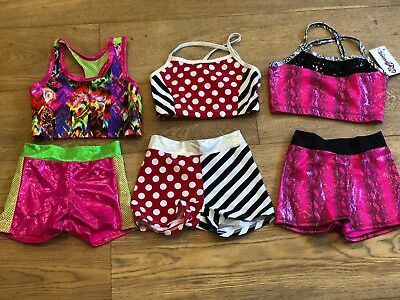 NWT Reflectionz Girls Top Short Dance Gymnastics Dress Up Jazz Cheer Size 8