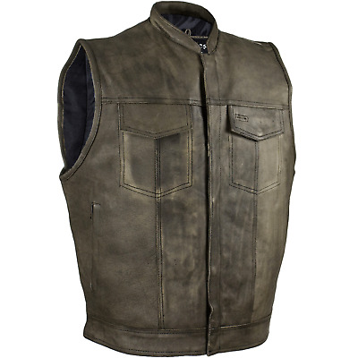 Mens Distressed Brown Leather Motorcycle Vest Biker Riding Concealed Carry 40-62