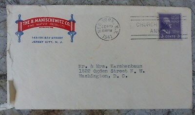 THE B. MANISCHEWITZ CO., Envelope, 1941, With SIGNED LETTER!
