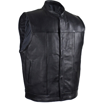 Mens Genuine Cowhide Leather Motorcycle Vest Biker Riding Concealed Carry 40-62