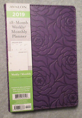 2019 PURPLE ROSES Flowers AVALON MONTHLY WEEKLY - ROOM to WRITE NOTES 18-Month