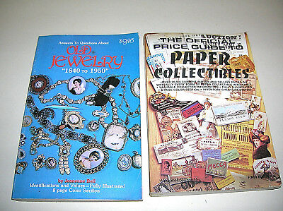 2 Collectibles Books Price Guide to Paper Collectibles Old Jewelry 1840-1950
