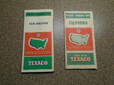 Vintage 2 LOT 1930'S TEXAS Oil GAS Station Maps of CALIFORNIA & NEW ENGLAND