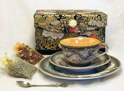 SALE Made In Occupied Japan Dragonware Teacup Trio-Hand Sculpted in Gift Box+++