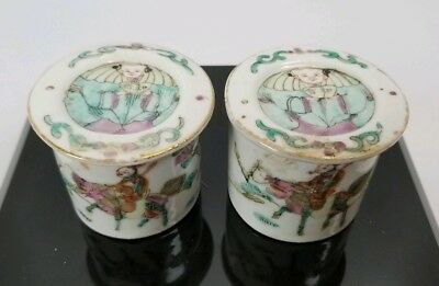 "Antique 19th Century Chinese Porcelain Jars 2"" With Lids Hand Painted"
