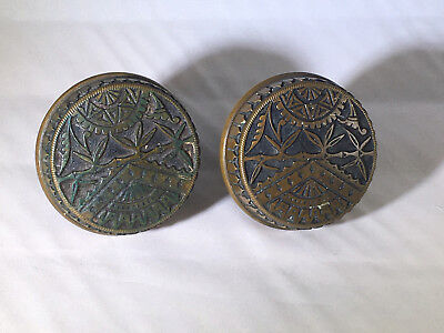 Pair Of Late 19th Century Aesthetic Period Branford Drum Style Brass Doorknobs