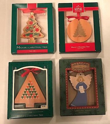 Hallmark Mayor's Christmas Tree ornaments, 1988, 1989, 1990, 1995. MIB.