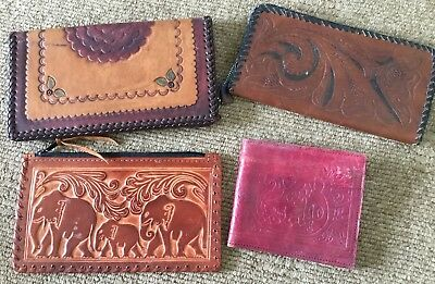 Collection Of 4 Vintage Leather Tooled Wallets And Purses