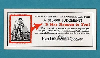 """FORT DEARBORN OF CHICAGO (Insurance) Ink Blotter - 4""""x9"""", 1930's, Exc Cond"""