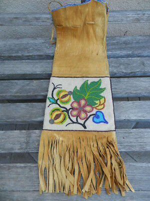 Antique c.1900 Floral Woodlands Cree Beaded Pipe Bag, From Estate, No Reserve!