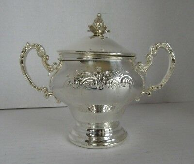 ANTIQUE   GORHAM   SILVERPLATE   CHANTILLY  SUGAR BOWL W/ LID and Spoon
