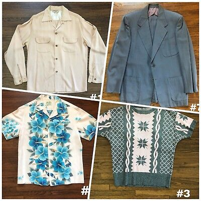 Mens Vintage 50s RAB Lot Shirt Coat Hawaiian VLV Tiki Rockabilly Gabardine Knit