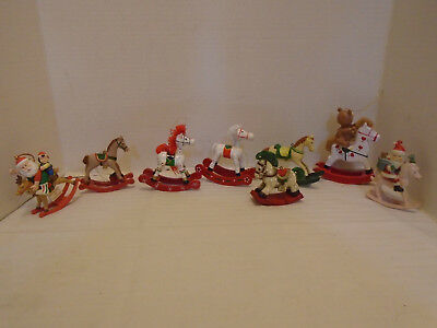 8 Vintage Wooden Brown & Red Rocking Horses Christmas Ornaments