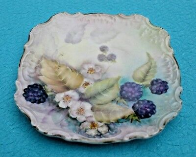 Signed China Trivet Hand Painted w/ Blackberries