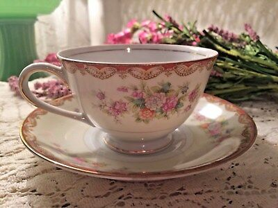 Occupied Japan Tea Cup and Saucer Diamond China Floral Set 2 Pc Gold Trim