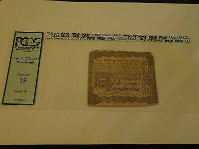"Genuine April 3, 1772 Pennsylvania ""half-A-Crown""  Note Nr!"