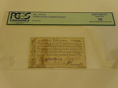 "Genuine December, 1771 North Carolina ""one Pound"" Note Nr!"