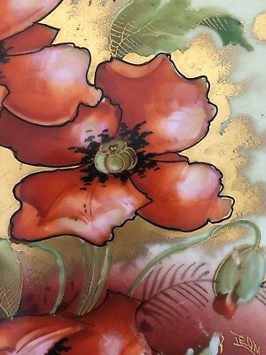 Antique Hand Painted Signed Pickard China Fancy Plate Red Poppies Buy It Now