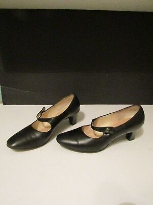 Vtg Black Mary Jane Side Button Ladies High Heeled Shoes Pumps