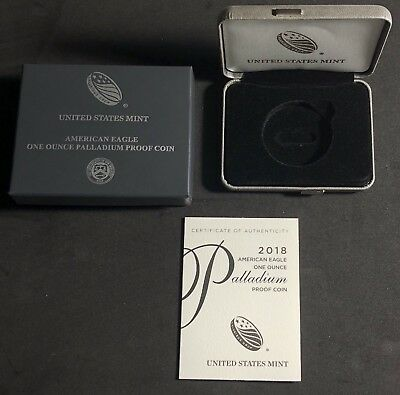 2018-W PALLADIUM EAGLE PROOF COIN ORIGINAL MINT PACKAGING BOX & COA ONLY No Coin