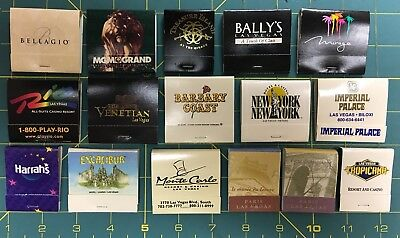 LOT OF 15 VINTAGE LAS VEGAS 14 CASINO MATCHBOOKS W/ UNUSED MATCHES 1980-90s NEW