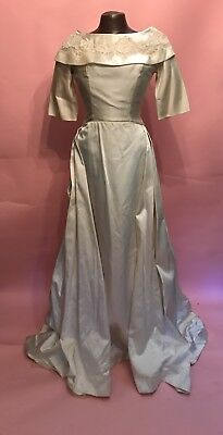 Vintage 1950s Ivory Satin Lace Cathedral Train Wedding Dress Cowl Neck Small