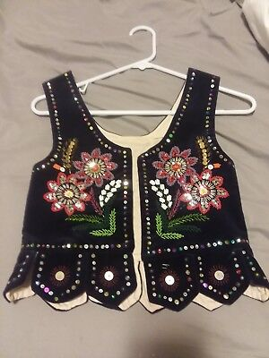 Vintage Polish Folk Costume Hand Craft Black Velvet Sequine Vest Corset Girls