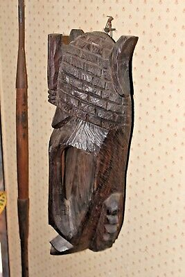 Vintage 50's Hand Carved Solid Black Ebony Wood Congo African Mask,