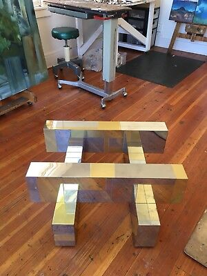 MID CENTURY MODERN PAUL EVANS CITYSCAPE COFFEE TABLE BRASS CHROME Directional