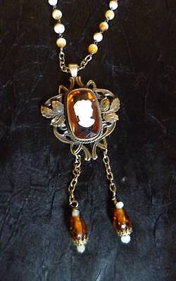 Antique Art Nouveau Gold Amber Topaz Cameo Vintage Wired Bead Chain Necklace